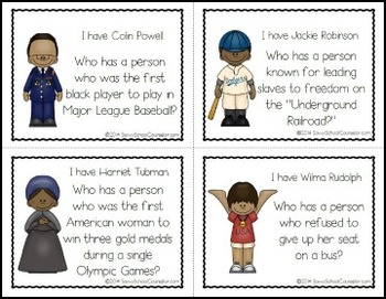Black History I Have/Who Has? Game- Savvy School Counselor