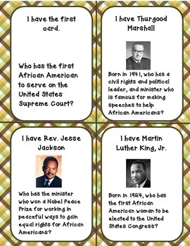 Black History: I have....Who has? Game