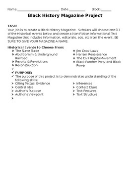 Black History Informational Text Magazine