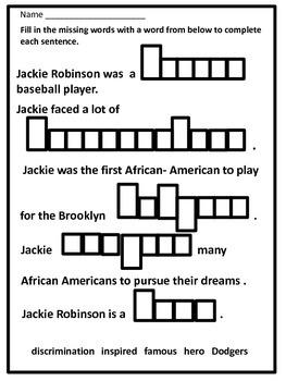 Black History Hero Jackie Robinson Biography and Fun Activities