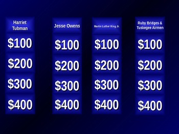 Black History Jeopardy Vocabulary Quiz Game