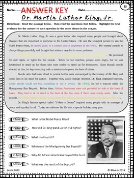 Black History Leveled Text Freebie - Martin Luther King Jr.
