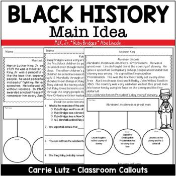 Black History ~ Main Idea & Inferring Passages