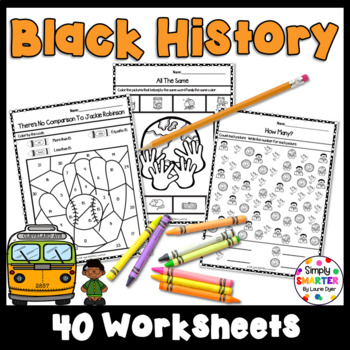 Black History Themed Kindergarten Math and Literacy Worksheets and Activities