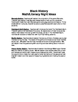 Black History Math/Literacy Night