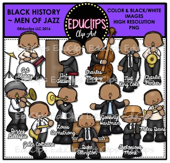 Black History ~ Men Of Jazz Clip Art Bundle {Educlips Clipart}