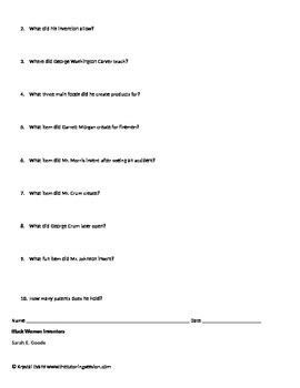 Black History Month Close Reading Packet