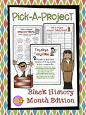 Black History Month Pick A Project Choice Menus, Writing A