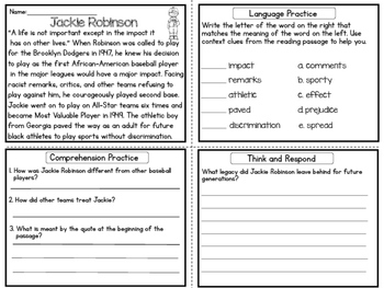 Black History Month Reading Comprehension Upper Elementary