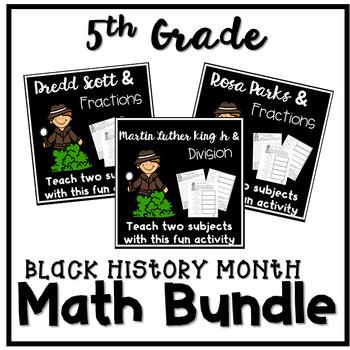 Black History Month Math 5th Grade Worksheets Bundle