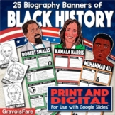 Black History Month Activity —Biography Banners— Print and Digital Versions