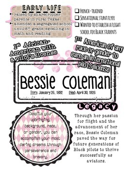 Black History Month BESSIE COLEMAN Poster, Passage and Questions