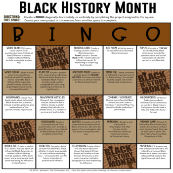 Black History Month BINGO Menu Board