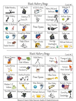 Black History Month Activities 30 Bingo Cards By Jason S