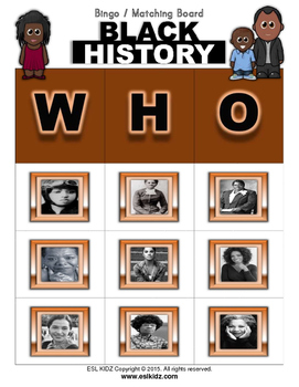 Black History Month Bingo / Matching Activity with flashcards
