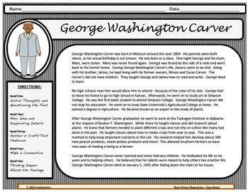 Black History Month Biography - Close Read SAMPLE PRODUCT