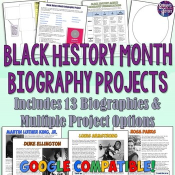 Black History Month Biography Projects with Common Core Readings