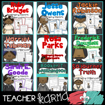 Black History Month Biography Report Organizers & Forms GROWING BUNDLE