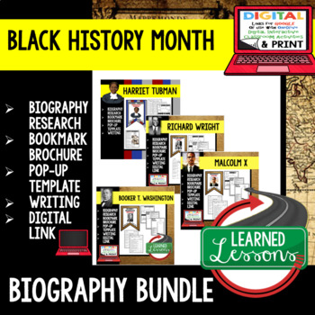 Black History Month Biography Research, Bookmark Brochure, Pop-Up, Writing