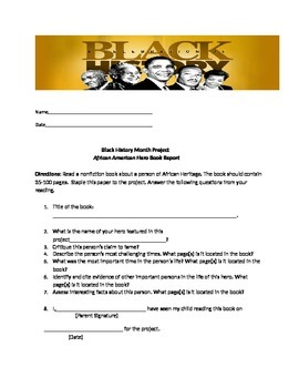 Black History Month Book Report