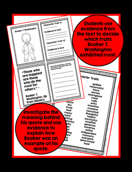 Black History Month Booker T. Washington Biography Comprehension Activities