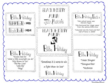 Black History Month Bulletin Board Set/Printables/Signs Musician Billie Holiday