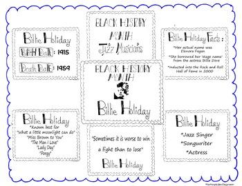 Black History Month Bulletin Board Set/Printables/Signs Musician Billie Holiday