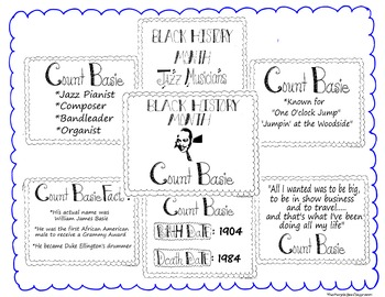 Black History Month Bulletin Board Set/Printables/Signs Musician Count Basie