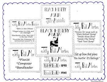 Black History Month Bulletin Board Set/Printables/Signs Musician Jelly Morton