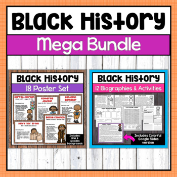 Black History Month Bundle- Bios, Posters, & more (Distressed rustic wood set)