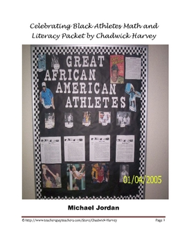 Black History Month Celebrate Black Athletes Math and Literacy Packet