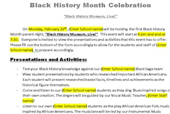 Black History Month Celebration Package: family night & student presentations