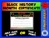 Black History Month Certificate - Editable