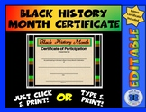 Black History Month Certificate of Participation - Editable