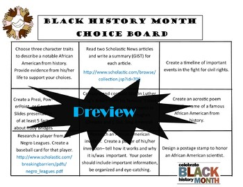 Black History Month Choice Board Activities Menu Literacy Center