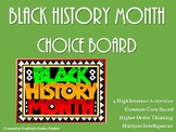 Black History Month Choice Board Activities Menu Literacy Center