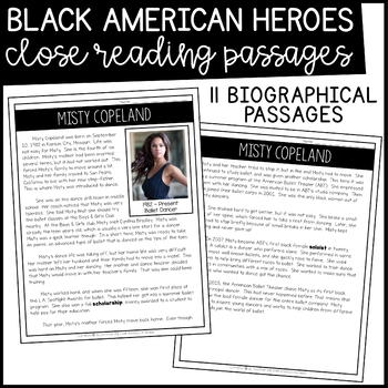 Black History Month Activities | Black American Heroes Close Read Biographies