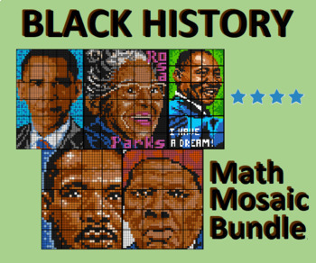 Black History Month - Collaborative Math Mosaic Bundle