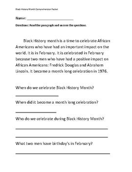 Black History Month Comprehension Packet