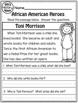 Black History Month ~ Comprehension Passages