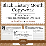 Black History Month Activity - Copywork - Handwriting - Cursive