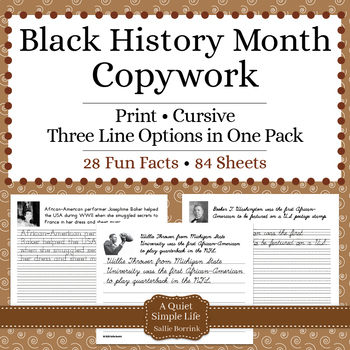Black History Month Activity - Copywork - Handwriting - Print