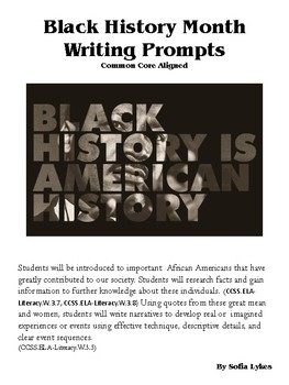 Black History Month - Creative Writing Prompts
