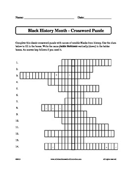 Black History Month - Crossword Puzzle by Claudette Upshur ...