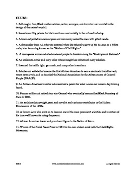 Black History Month - Crossword Puzzle by Claudette Upshur ...