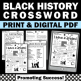 Black History Month Activities Crossword Puzzle, Martin Luther King Jr.