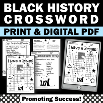 Black History Month Crossword Puzzle for Martin Luther King Jr. Activities