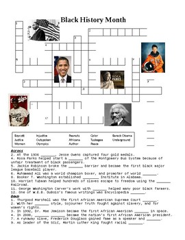 Black History Month Crossword or Web Quest