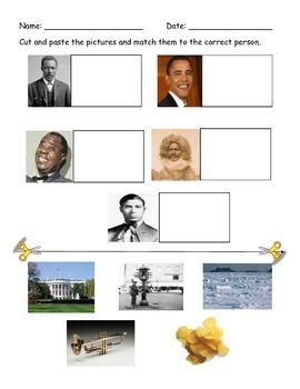 Black History Month Cut and Paste Worksheet--Set 2