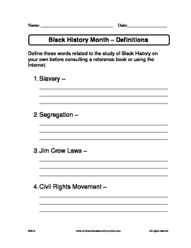 Black History Month - Definition of Terms Worksheet by Claudette Upshur